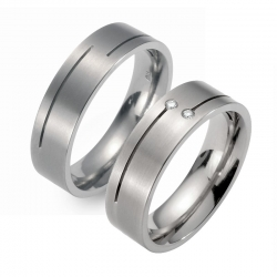 Partner Ringe Titan, Damenring 2 Brillanten  Nr. 9005-9006